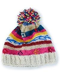 Gringo Fairtrade Knitted Wool Striped Winter Fleece Bobble Hat Made In Nepal