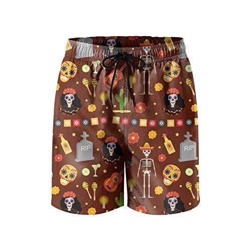 Funny red a Day of Dead Halloween Skeletons Art Loose Men's Beach Short,Shorts Size XXL