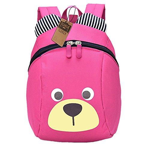 Zaino per bambini,TEAMEN Anti Verloren zaino per bambini, Mini Orsetto scuola borsa per bambini, ragazzi ragazze bambini 1 - 3 anni(rosa)
