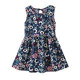JUTOO Säuglingskleinkind-Baby-Mädchen-Sommerkleid-Kurzarm-Blumenkleid-Bügel-Kleidung (Dunkelblau,110)