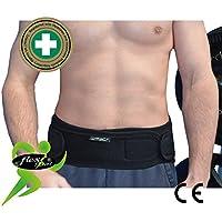 Faja Lumbar (L/NEGRO) - Cinturón de Protección Lumbar UNICA – ANTI-SUDOR, HIPOALERGÉNICA (SIN NEOPRENO – SIN LATEX), respeta las píelas más delicadas. 4DflexiSPORT (NEGRO, L)
