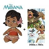 Disney - Vaiana - Set de Peluche Vaiana Bebé 25 cm(Famosa 760016403) Calidad Super Soft + Toalla de playa 100% algodón (140x70cm)