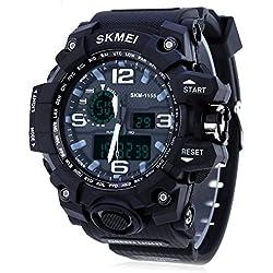 Leopard Shop SKMEI 1155 Men LED Digital Quartz Watch Dual Time Day Alarm Light Water Resistance Wristwatch Black