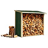Clifford James Metal Log Store Outdoor Timber Wood Storage Shed Weatherproof Garden Shelter by Waltons (6ft x 3ft x 5ft, Dark Green)