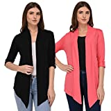 Espresso Women's 100% Viscose Waterfall Shrugs with Button Foldable Sleeve - Black/Coral
