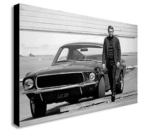 FAB Steve McQueen-Ford mustang- Bullitt Film-Canvas Wall Art Print-verschiedene Größen, holz, A1 32x24 inches - Print Art Canvas