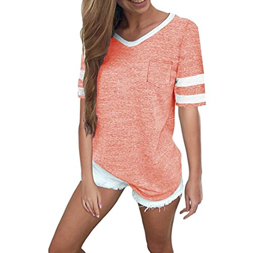 ESAILQ Damen T-Shirt Ladies Long Back Shaped Spray Dye Tee(S,Rosa)