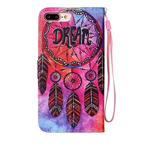 """MOONCASE iPhone 7 Plus Étui, [Smile] Dessin Motif Bookstyle PU Cuir Flip Housse Etui à rabat Portefeuille TPU Case Cover avec Strap Lanière pouriPhone 7 Plus 5.5"""" DREAM"""