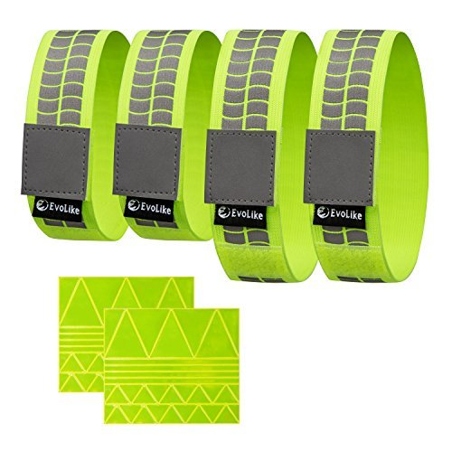 Premium evolike Reflektierende Armbänder/Gürtel/Armbinden,/Knöchel Bands (4Stück/2Paar + 60PCS gratis Reflection Aufkleber enthalten) Papier-armbänder Für Ereignisse