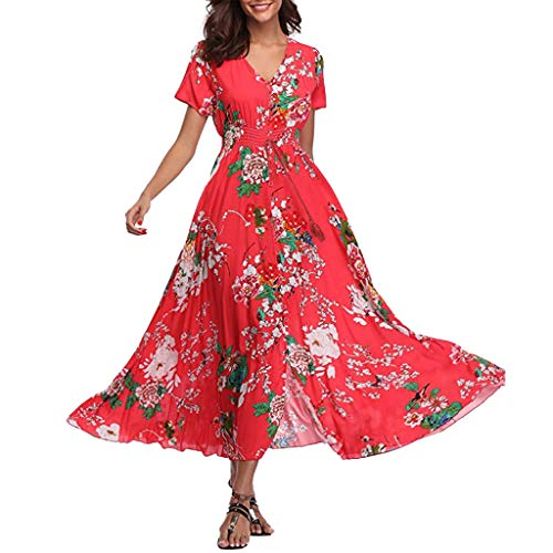 Tohole Sommerkleider Damen V-Ausschnitt Blumen Strand Kleider A-Linie Abendkleid Knielang Sommerkleid Cocktailkleid Elegant Skaterkleid Party Cocktail Freizeitkleid (rot,L)