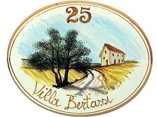 Keramik-und Plaketten oval Hausnummern ZENTRAL LANDSCHAFT - bestellen Sie hier Ihre Hausnummer (ovale con paesaggio con podere)