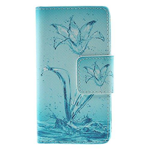 [A4E] Handyhülle passend für Sony Xperia Z5 Compact Kunstleder Tasche, seitlicher Magnetverschluss mit Wasserblume Design (blau, weiß)