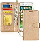 FYY Cover iPhone 8 Plus, Custodia iPhone 8 Plus, Cover iPhone 7 Plus, Flip Custodia Portafoglio Libro Pelle PU con Porta Carte e Chiusura Magnetica per iPhone 7 Plus/8 Plus- Oro
