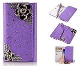 ZeWoo PU Leder Brieftasche - XT001 / (4#) Schwarze Rose