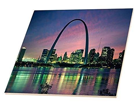 3dRose ct_56145_2 St louis Missouri Arch At Nite-Ceramic Tile, 6
