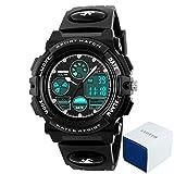 eyotto Kinder Sport Uhren 50m Wasserdicht, Mädchen Jungen Multifunktions-Analog Digital Armbanduhr mit LED Alarm Stoppuhr, Kinder, schwarz