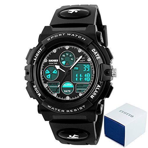 Herren-uhren-elastisches Band (eyotto Kinder Sport Uhren 50m Wasserdicht, Mädchen Jungen Multifunktions-Analog Digital Armbanduhr mit LED Alarm Stoppuhr, Kinder, schwarz)