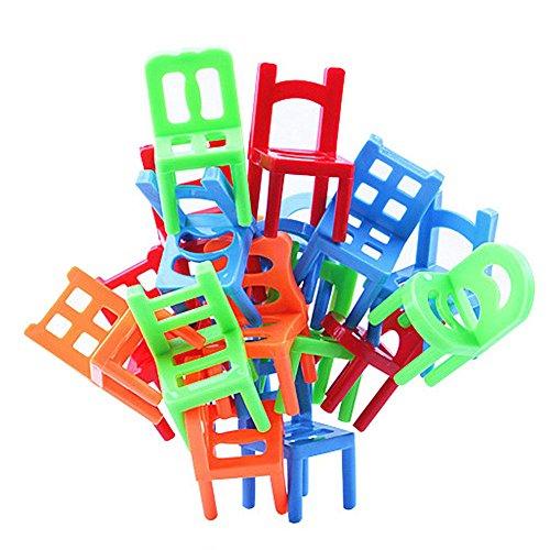 (SODIAL 18 Stueck Balance Stuehle Balance Spiel Kinder Kinder Lehrreich Balance Spielzeug Puzzle Balance Spiel ABS Kunststoff)