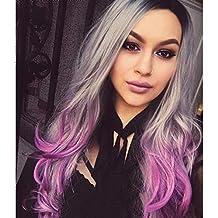 FYN Peluca de la Mujer gradiente púrpura Larga rizada Peluca de Pelo Natural Esponjoso y Realista