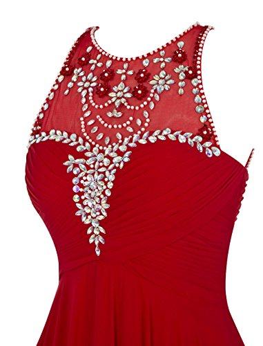 Dresstells Damen Bodenlang Chiffon Abendkleid Ballkleider mit Friesen Koralle