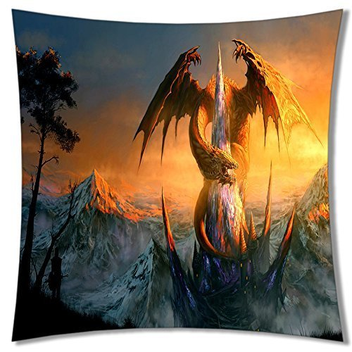 A-SLLE Square Unique Decorative Throw Pillow Case Cushion Cover Dragon Design 18 X 18 Two Sides Printed 215