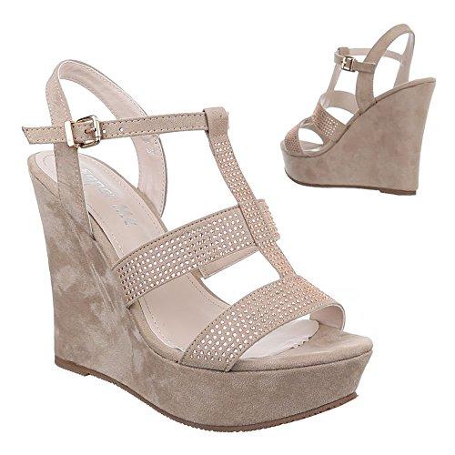 Damen Schuhe, 0-87, SANDALETTEN KEIL SANDALETTEN MIT RIEMCHEN Beige