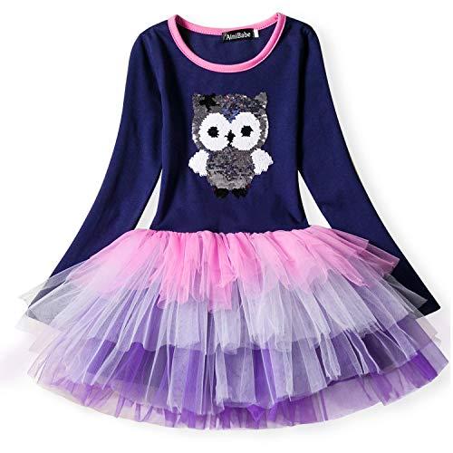 NNJXD Kleine Mädchen Einhorn Party Kleid Mit Langen Ärmeln Outfits Süße Tutu Röcke Casual Dress Für Baby Mädchen Größe (100) 2-3 Jahre Blau & Lila