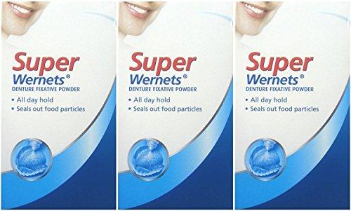 Drei Packungen von POLIGRIP Wernets Super Prothese Fixativ Puder