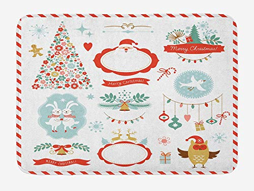 OQUYCZ Kids Christmas Bath Mat, Cheerful Celebration of Yuletide Theme with Pastel Seasonal Graphic Elements, Plush Bathroom Decor Mat with Non Slip Backing, 23.6 W X 15.7 W Inches, Multicolor