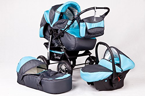 Kombi Kinderwagen Travel System Kamel 3in1 grau-türkis + Babyschale Autositz 0-10kg Kinderwagen Buggy Stroller Poussette