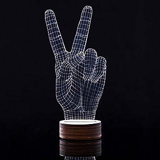 LED 3D Lamp, AntEuro 3D Touch Tisch Schreibtisch Lampe USB Bedside Licht (Hand Victory)