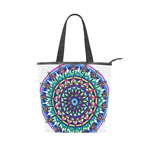COOSUN Mandala - Bolso de lona con cremallera para mujer o niña, para ir de compras, a la escuela, al aire libre, picnic