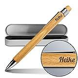 Kugelschreiber mit Namen Heike - Gravierter Holz-Kugelschreiber inkl. Metall-Geschenkdose