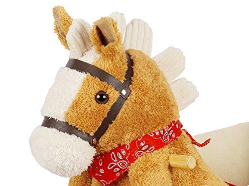 Dunjo® Schaukelpferd Plüsch | Baby Schaukeltier Pony | Für Kinder Jungen Mädchen 1 - 3 Jahre | mit Sicherheitsgurt Rollen und Musik - 4