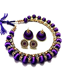 Festival Offer: Floret Jewellery Traditional Party Wear Fancy Purple Silk Thread Necklace Set With Jhumki Earrings...