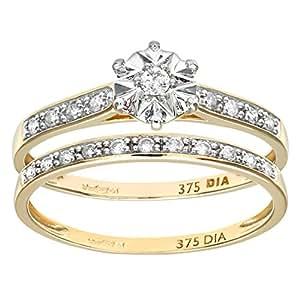 Ensemble Bague de fiançailles et alliance Femme - Or Jaune 375/1000 (9 Cts) 2.5 Gr - Diamant - T 49