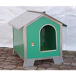 Caseta para perros Talla media-piccola en madera con perfiles de acero (Medidas 58x 43x 58)