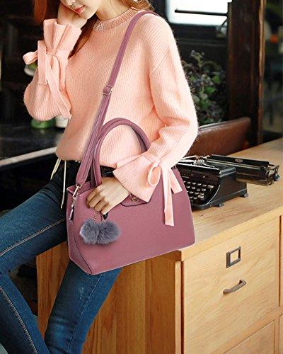 Damen Handtaschen Set 3 Teiliges Leder Crossbody Tasche Handgelenktasche Rot Pink