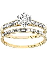 Naava Women's 9 ct Yellow Gold Pave Set Round Brilliant Cut 0.15 ct Diamond Bridal Set Ring