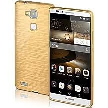 Funda protectora OneFlow para funda Huawei Ascend Mate 7 Carcasa silicona TPU 1,5mm | Accesorios cubierta protección móvil | Funda móvil paragolpes bolso cepillado aluminio diseño en Ivory-Gold