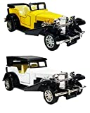 Jack Royal 2 Combo Model Toy Vintage Antique Car Diecast with Pull Back Mechanism and Open-able Doors (Yellow and White)
