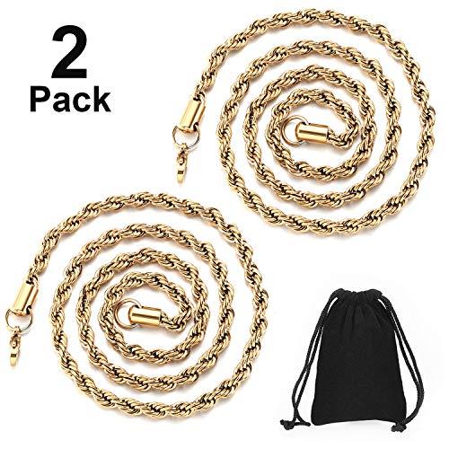 2 Stücke Hip Hop Gold Kette 32 Zoll Große Klobige Kette für Männer, Faux Gold Kette Halskette für Kostüm Schmuck Rapper Punk Stil (Seilkette 2 (Großer Mann Kostüme)