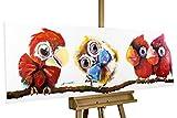 KunstLoft® Acryl Gemälde 'Im Mittelpunkt' 150x50cm | handgemalte Leinwand Bilder XXL | Tiere Vögel Eule Rote Papageien auf Ast für Kinderzimmer Babyzimmer | Wandbild Acrylbild moderne Kunst einteilig