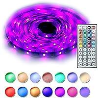 RaThun Led Kit de luces de tiras 5M 16.4 Ft 5050 RGB 150 Leds Juego de cambio de color flexible completo con 44 llaves Controlador remoto IR, Caja de control, 12V 2A Fuente de alimentación para ilumi