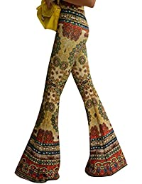 YOUJIA Damen Vintage Lang Casual Weites Bein Hose Hohe Taille Schlaghose Palazzo Hosen