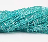Earth Gems Park Super Fine Quality Gems Jewelry Sky Blue Apatite Smooth Heishi Cube Square Gemstone Craft Loose Beads Strand 14