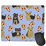 Yorkie Pizza, Yorkshire Terriers Pizza Funny Cute Dog Novelty Food Print for Yorkie Owners Best Dogs for Home Dec Mousepad 18x22 cm