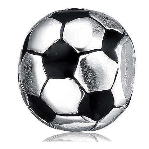 Silverworks europea in argento sterling con perline e ciondoli a forma di cubo, con perline a forma di pallone da calcio