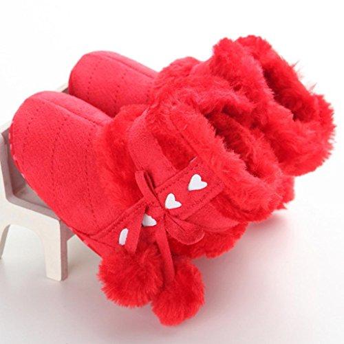 Saingace Bébé Bottes de Neige Molle Chaussures Berceau doux Bébé Bottes (11(11cm/0-6mois), Rouge) Rouge