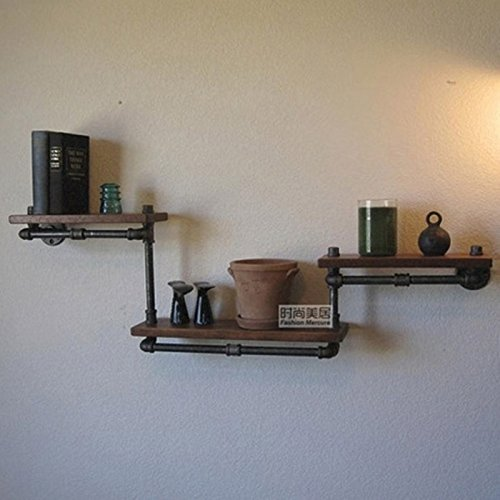 PinWei Home Rustikale Schmiedeeisen Wand Regal Regal Holz-Regal Vintage kreativen Rohr Möbel,Vintage alte